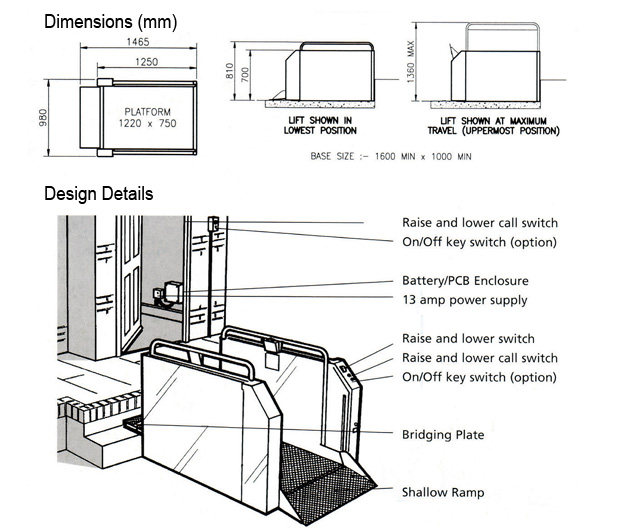 Wheelchair Lifts: Wessex Step Lift - Technical Information